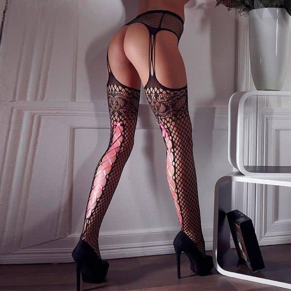 Tights Suspender Belt Pink Lace S/M