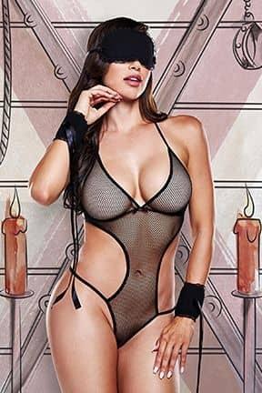 Sexiga Damunderkläder Love Slave Set Fishnet Black O/S