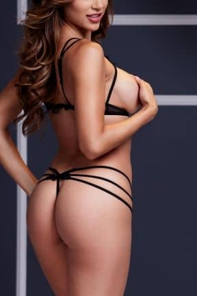 Sexiga Damunderkläder Strappy Open Bra & Panty Set O/S Black