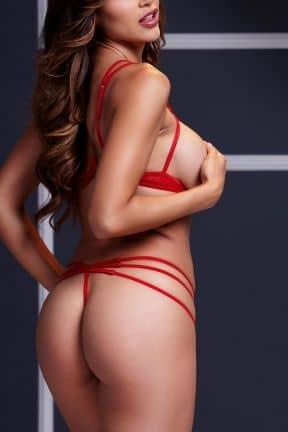 Sexiga Damunderkläder Strappy Open Bra & Panty Set O/S Red