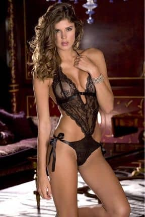 Catsuits & Bodys Lace Front Tie Back Teddy O/S