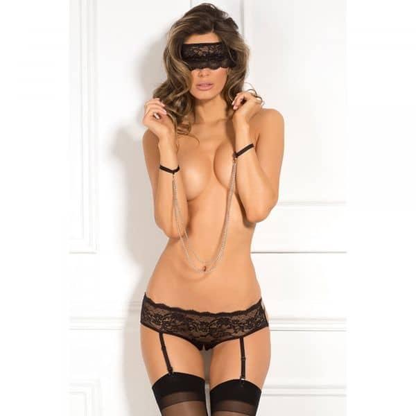 3pc Crotchless Panty & Mask Set S/M