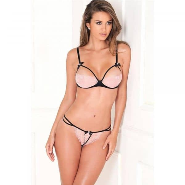 2PC Lace Bra Pink Cups and G-String S/M