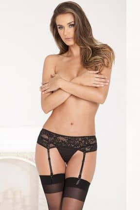 Trosor & String Lace Garter Belt Black