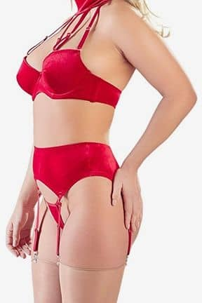 Sexiga Set Velvet Suspender Set