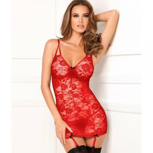Floral Lace Chemise String Red S/M