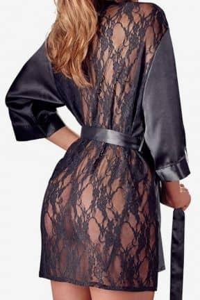 Sexiga Set Satin Kimono Black L/XL
