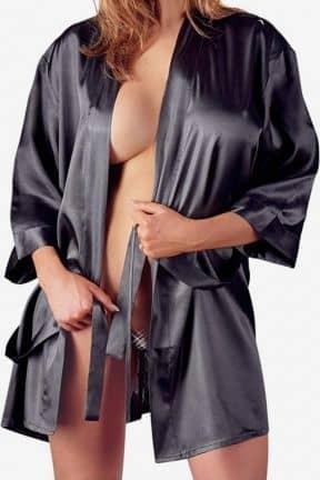 Sexiga Damunderkläder Satin Kimono Black L/XL