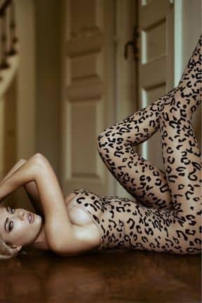 Sexiga Underkläder Bodystocking Footless Leopard S/M