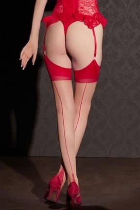 Sexiga Underkläder Stockings Nude w. Red Seam