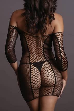 Sexiga Damunderkläder Le Désir - Net Sleeved Mini Dress OS