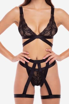 Sexiga Damunderkläder 3 PC straps and garters bra set BLK