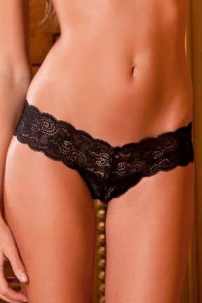 Trosor & String Lace Thong with ribbon