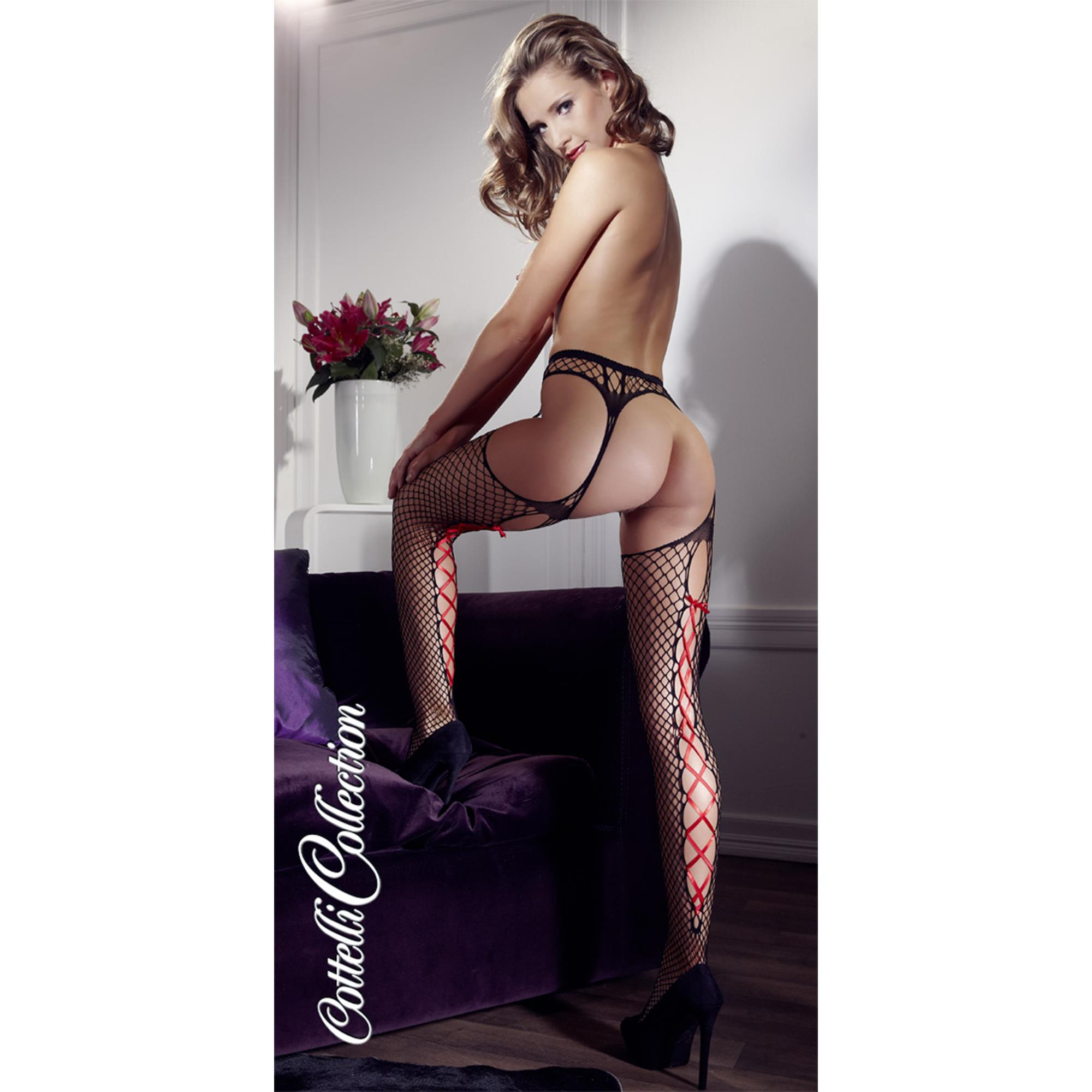 Net Stockings w. Red Lace Up S/M