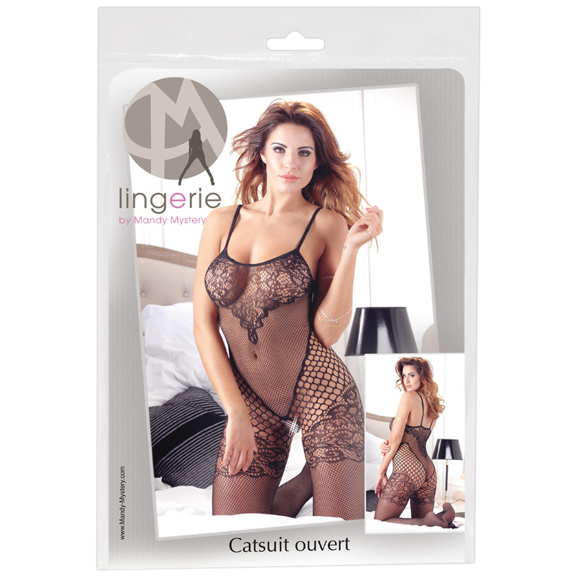 Catsuit with lace on chest S-L