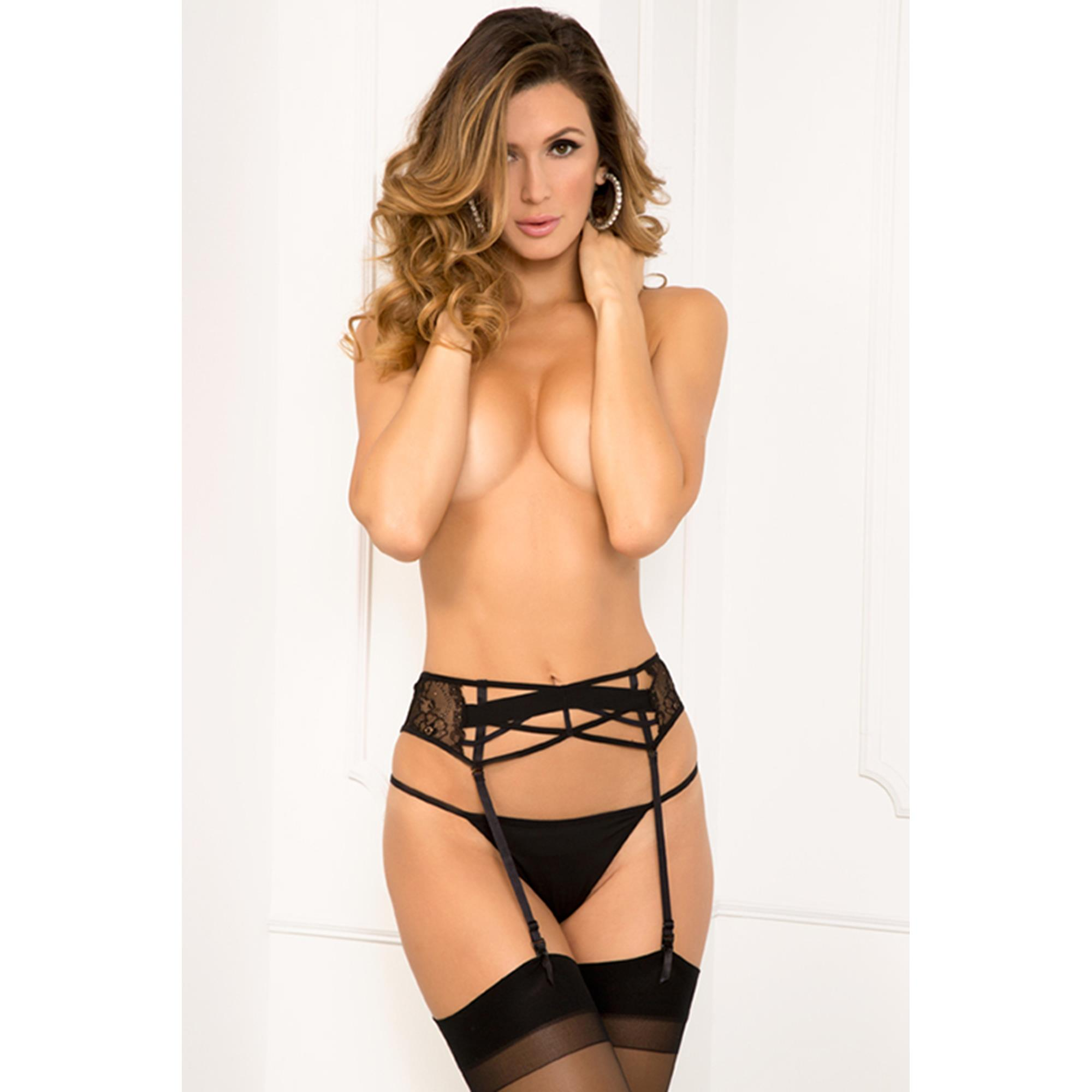 Lace Criss Cross Garter Black S/M