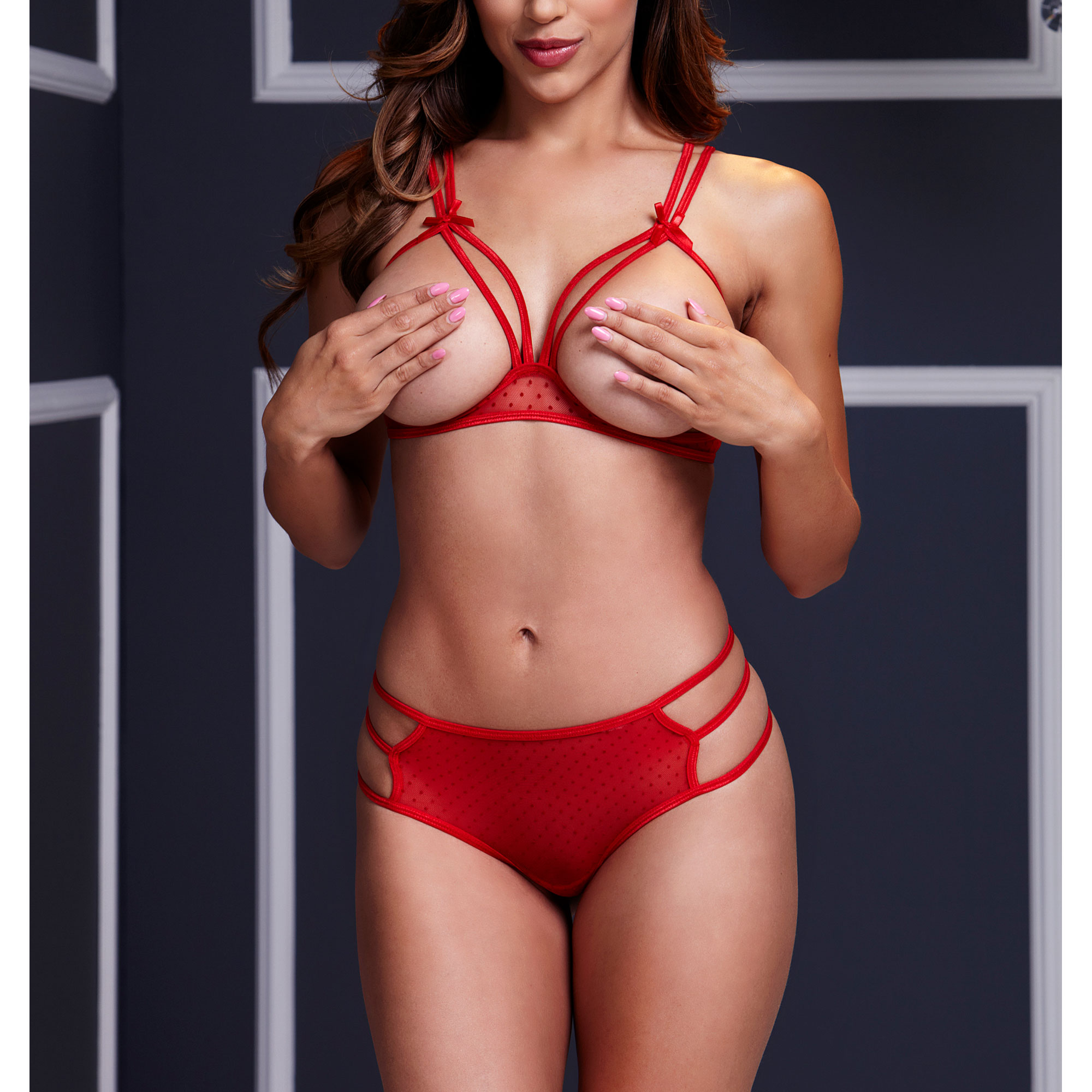 Strappy Open Bra & Panty Set O/S Red