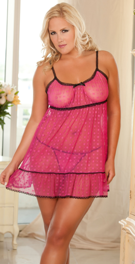 Flower Mesh Babydoll Pink Queen Size
