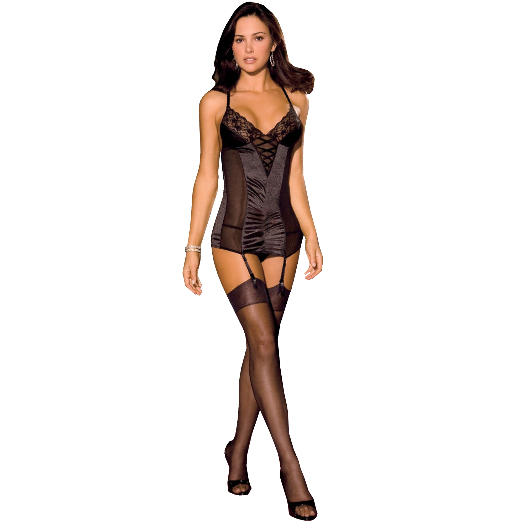 2PC Stretch Satin Lace Bl. M/L