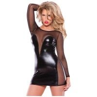 Kitten Wetlook And Mesh Dress