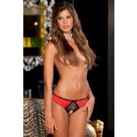 Crothchless Frills Panty Red M/L